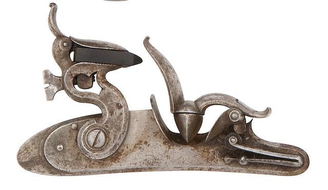 A Rare Aston's Patent Flintlock Mechanism For A Longarm