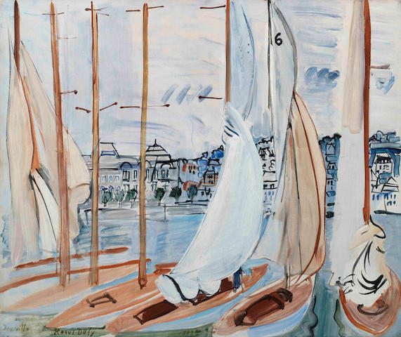 Raoul Dufy (French, 1877-1953) Le séchage des voiles (Painted in Deauville in 1935)
