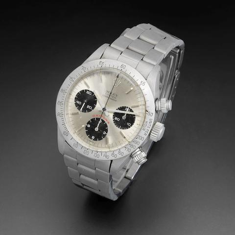 Rolex. A stainless steel manual wind chronograph bracelet watch Daytona, Ref:6265, Serial No.874****, Sold 16th March 1985