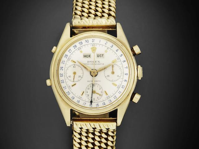 Rolex. A fine and rare 18K gold manual wind 'Jean Claude Killy' triple calendar chronograph bracelet watch Antimagnetic, Ref:4767, Serial rubbed, Circa 1950