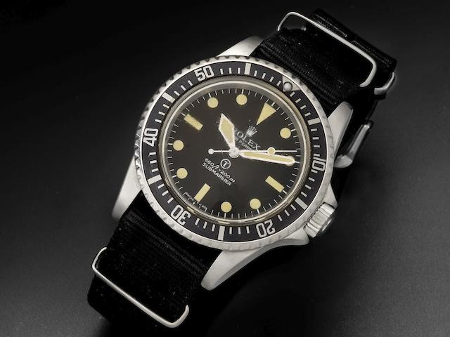 Rolex. A rare stainless steel automatic military issue wristwatch Submariner, Ref:5517/5513, Serial No.521****, Circa 1972