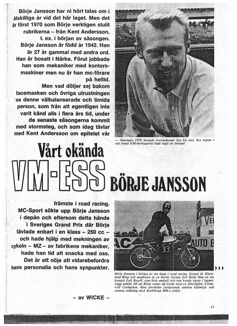 ex Börje Jansson, Leif Rosell, Kent Andersson, Derbi 50 cm3 « Carreras Cliente » Grand Prix de course 1965  Frame no. illisible (voir texte) Engine no. SF8091