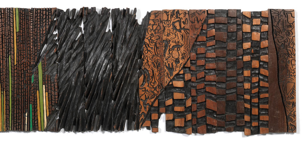 El Anatsui (Ghanaian, born 1944) Burnt Wood in 13 pieces