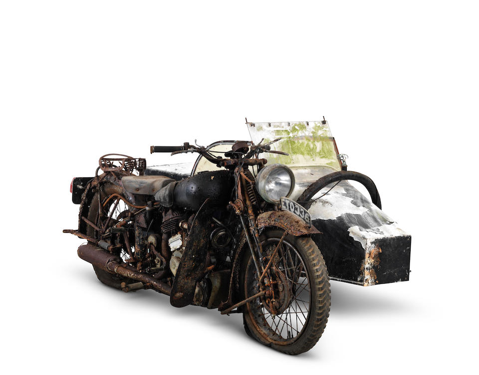 From the estate of the late Frank Vague,1938 Brough Superior 982cc SS80 Motorcycle Combination Frame no. M8/1911 Engine no. BS/X 4636