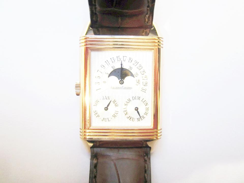 Jaeger-LeCoultre. A limited edition 18k rose gold manual wind perpetual calendar dual-dial reversible wristwatch with day/night indication and moon phase Reverso Quantième Perpétual, Ref:270.2.55, No.285/500, Sold 4th June 2001