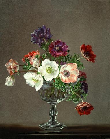 Cecil Kennedy (British, 1905-1997) A vase of anemones