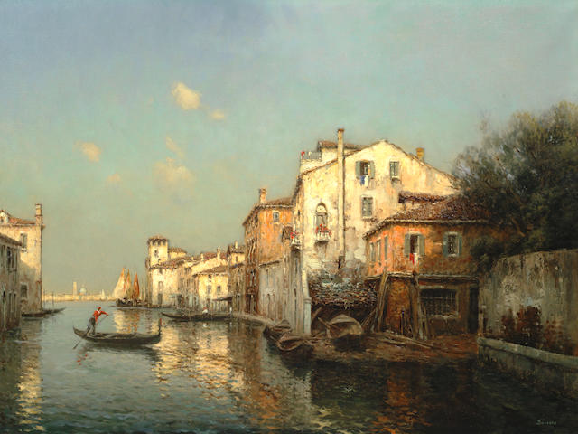 Antoine Bouvard (French, 1870-1956) View of a Venetian canal