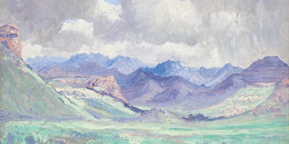 Jacob Hendrik Pierneef (South African, 1886-1957) Maluti Mountains at Ficksburg