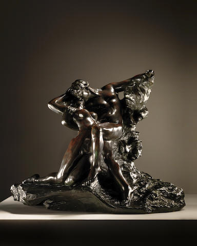Auguste Rodin (French, 1840-1917) Eternel printemps, second état, 1ère réduction  66.2 x 83 x 41cm (26 1/16 x 32 11/16 x 16 1/8in). (Conceived in 1884, this bronze version executed in this size in 1898, the present work cast between 1905 and 1907)