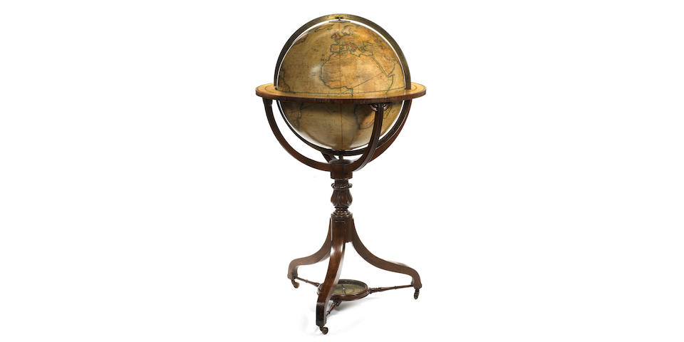 A Charles Smith & Son 18-inch terrestrial library globe,  English,  published 1858,