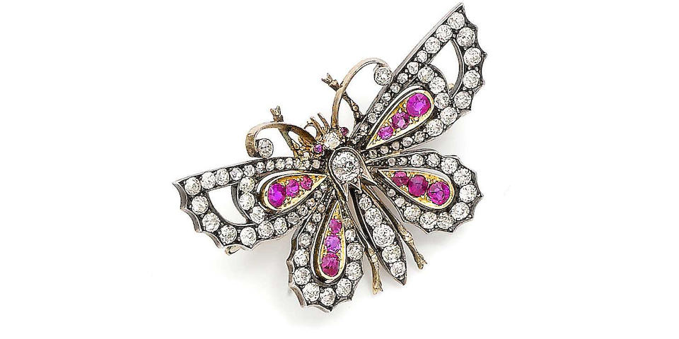 A ruby and diamond butterfly brooch,