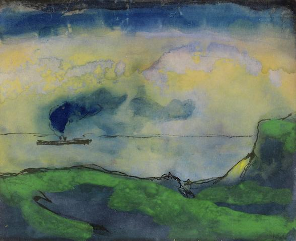 Emil Nolde (German, 1867-1956) Grüne Küstenlandschaft mit Dampfer (This work belongs to a series of seascapes executed on the coast of St. Peter, Germany, during Spring 1946.)