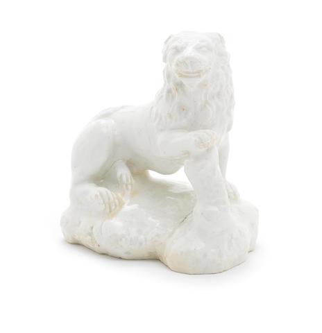 A Bow white model of a lion, circa 1750-54