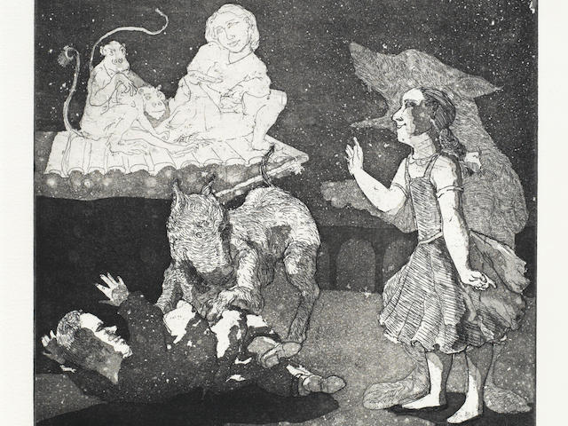 Paula Rego (British, born 1935) Night Stories Etching and aquatint, 1987, on Velin Arches, signed, dated and numbered 16/50 in pencil, printed at Culford Press, London, published by the artist, with margins, 250 x 252mm (9 7/8 x 9 7/8in)(PL)