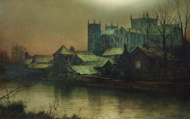 Louis H. Grimshaw (British, 1870-1944) Ripon Minster beside the River Swale