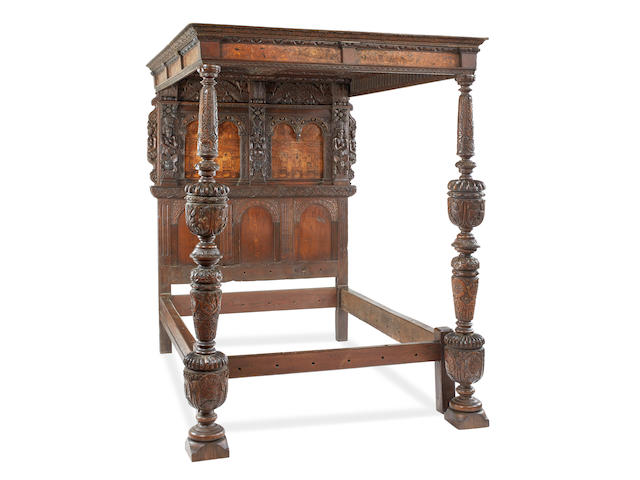 A rare and highly impressive Elizabeth I oak, walnut and marquetry inlaid tester bed, Southwark, London, circa 1585