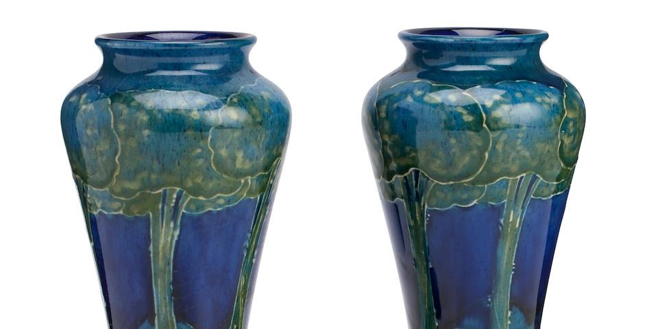 A pair of William Moorcroft 'Moonlit Blue' vases