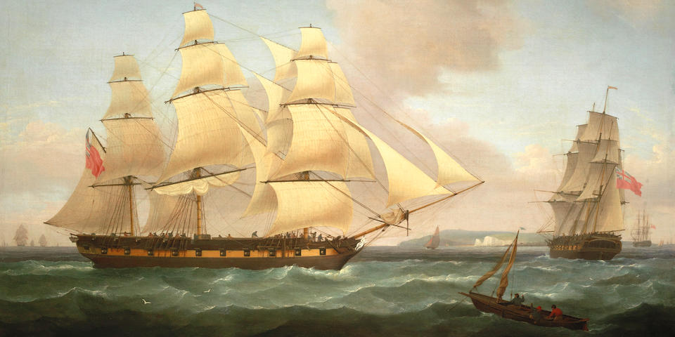 Thomas Whitcombe (British, 1760-1824) An East Indiaman in two positions off the North Foreland