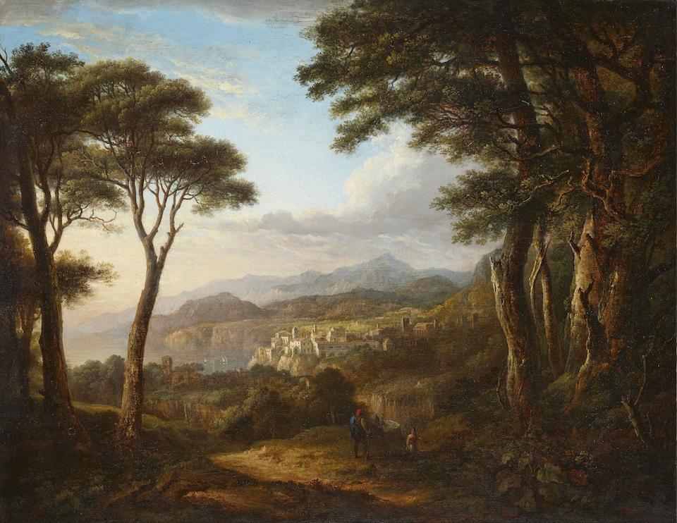 Alexander Nasmyth (British, 1758-1840) Veduta di Napoli da Posillipo; Veduta della costa Sorrentina  each 68.7 x 89.9cm (27 1/16 x 35 3/8in). ((2))