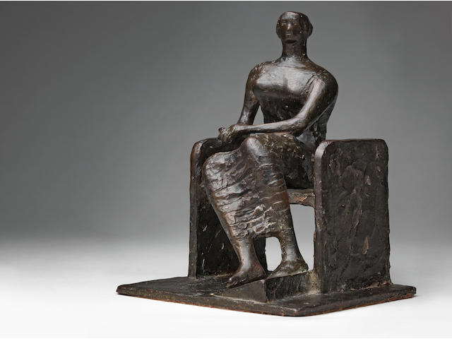 Henry Moore O.M., C.H. (British, 1898-1986) Seated Woman on Bench 21.8 cm. (8 1/2 in.) high (Conceived and cast in 1953 as an edition of 9)