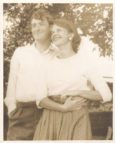 PLATH (SYLVIA) Two photographs given by Sylvia Plath to her mother Aurelia, the first showing her and her husband Ted Hughes, the second showiing her in garden wearing a sundress