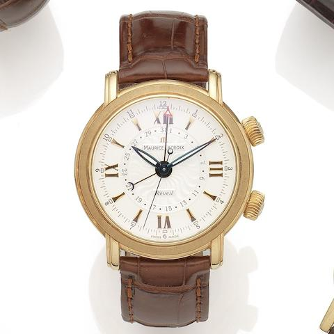 Maurice Lacroix. An 18K rose gold manual wind limited edition calendar alarm wristwatch Masterpiece Reveille, Ref:MP7118 PG101-110, No.14/150, Sold 20th March 2009