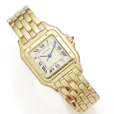 Cartier. An 18K gold quartz calendar bracelet watch Santos, Case No.8839540162, Circa 1990