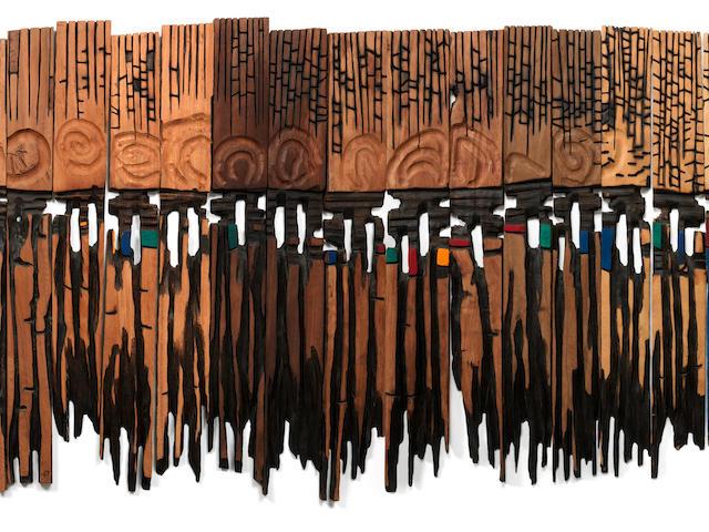 El Anatsui (Ghanaian, born 1944) 'Used towel'  in 25 pieces.