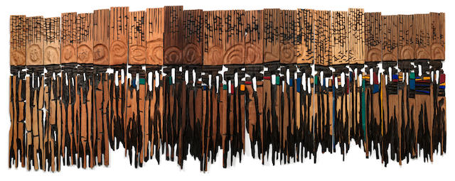 El Anatsui (Ghanaian, born 1944) 'Used towel'  in 25 pieces.