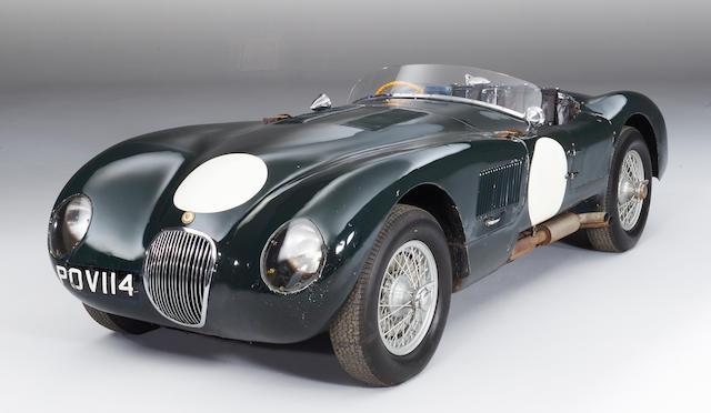 """The Ex-Ecurie Francorchamps, Roger Laurent, Baron Charles de Tornaco, Jacques Swaters, Olivier Gendebien – 1953 Le Mans 24-Hour, Spa 24-Hours, ADAC 1,000-Kilometres race,1953 Jaguar XK120C """"C-Type"""" Sports Racing Two-Seat Roadster  Chassis no. XKC 011' – Originally 'XKC 047're-stamped 'XKC 011' by Jaguar Cars Ltd. Engine no. E 1066-9"""