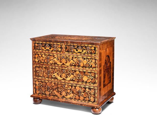 A William and Mary walnut, sycamore banded floral marquetry and oyster veneered chest