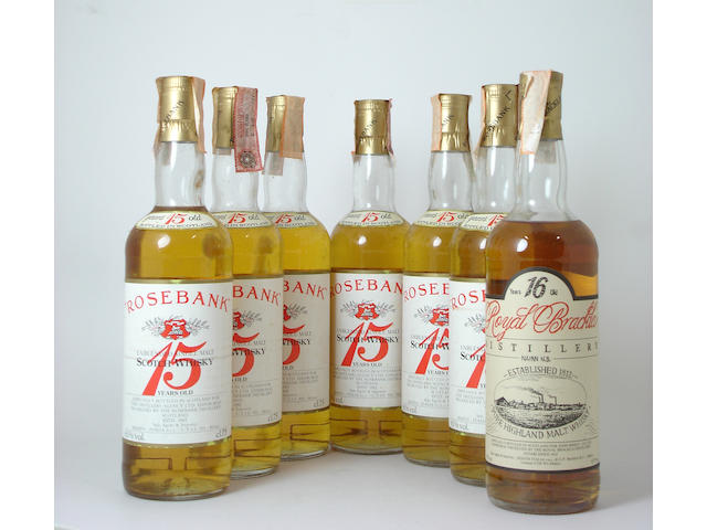 Rosebank 15 years old (6)  Royal Brackla 16 years old