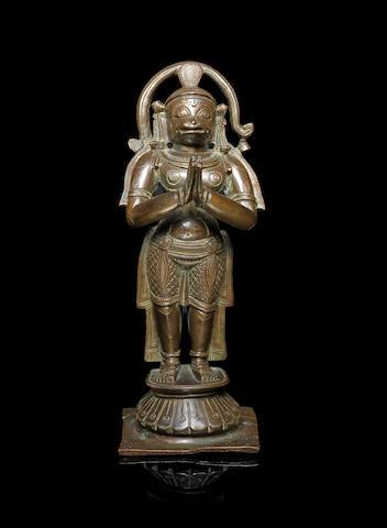 A bronze figure of Hanuman South India, 19th century