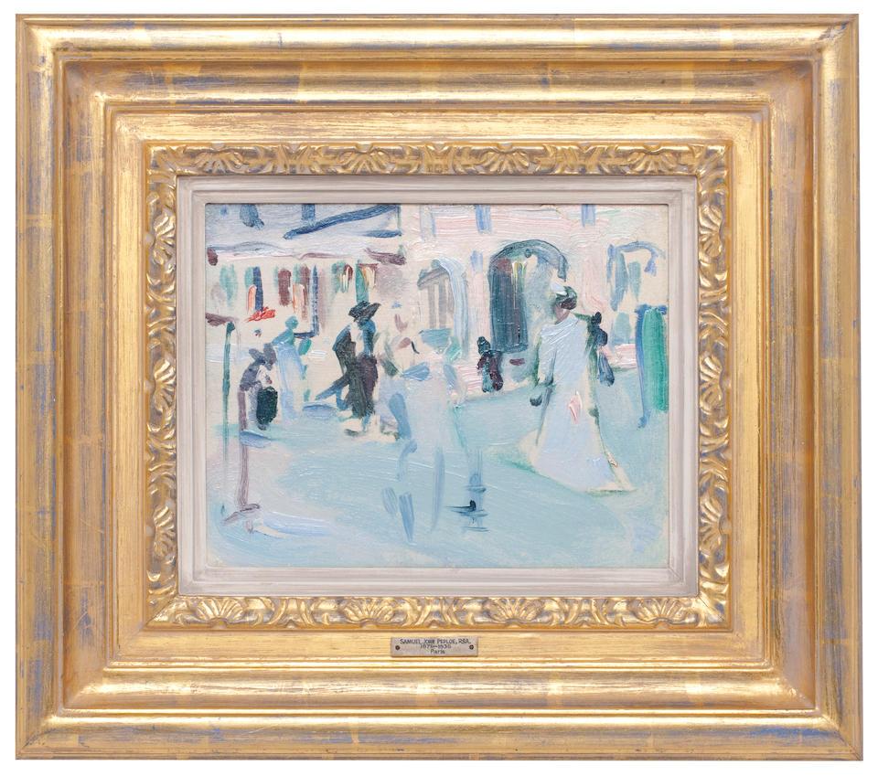 Samuel John Peploe RSA (British, 1871-1935) Paris Plage 18.5 x 23.75 cm. (7 1/2 x 9 1/4 in.) (Painted circa 1907)