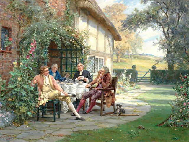 Margaret Dovaston (British, 1884-1955) Tea at the Vicarage