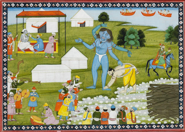 Vamana Avatar of Vishnu transforms into Trivikrama, with Mahabali touching his feet and the gods showering blessings from above Pahari, circa 1830-40