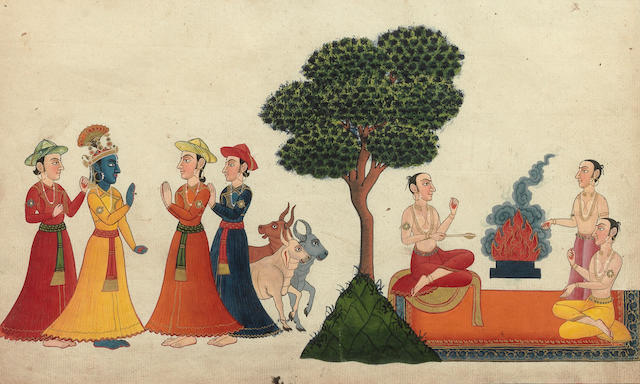 Three illustrations to the Bhagavata Purana, depicting Krishna with devotees Nepal, late 18th/early 19th Century