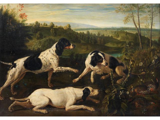 After Alexandre François Desportes, 19th century Bonne, Nonne and Ponne; the dogs of King Louis XIV of France