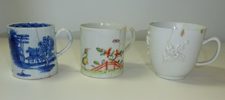 A study collection of nine Bow coffee cups and cans, circa 1753-65