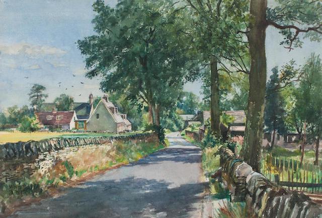 James McIntosh Patrick RSA ROI ARE LLD (British, 1907-1998) Fowlis Village  41 x 60 cm. (15 15/16 x 23 5/8 in.)