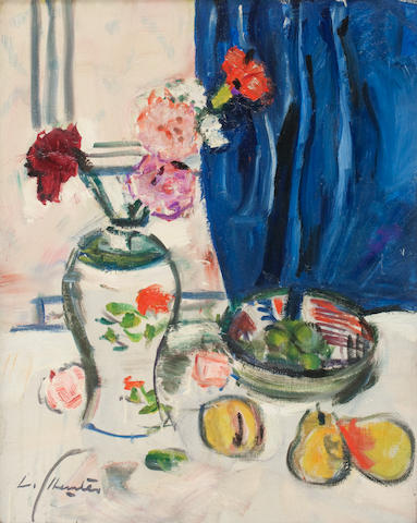 George Leslie Hunter (British, 1877-1931) Still Life of Carnations and Fruit 50 x 40 cm. (19 11/16 x 15 3/4 in.)