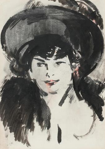 John Duncan Fergusson RBA (British, 1874-1961) The Black Hat 33 x 23 cm. (13 x 9 1/16 in.)