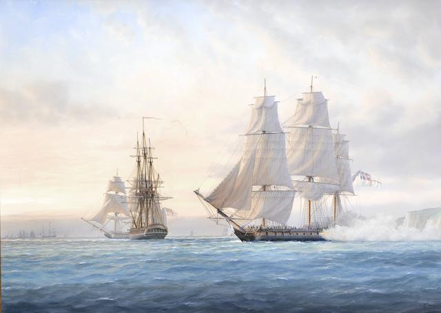 Timothy Franklin Ross Thompson (British, born 1951) A British frigate saluting at sunrise