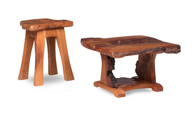 The Workshop of Tim Stead (2000-2013), A burr-elm coffee table and stool  (2)