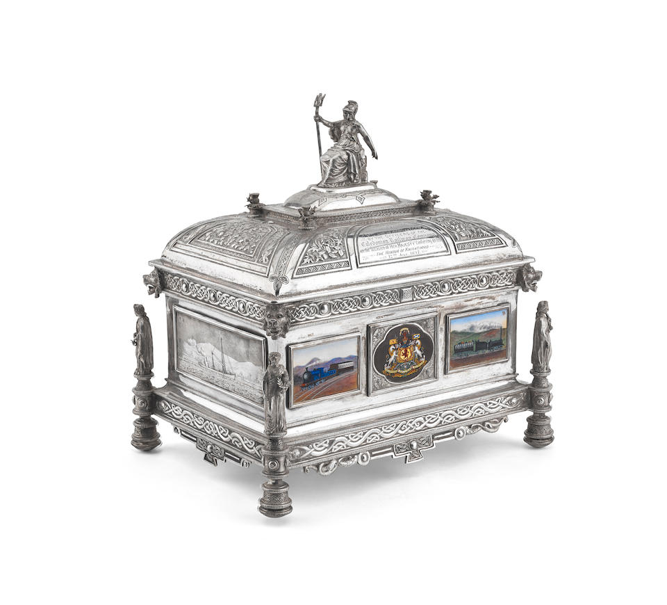 Of Railway Interest: An impressive late Victorian Caledonian Railway Company Scottish silver presentation casket by Edward & Sons, Glasgow 1897