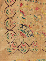 A silk embroidered cotton Summer Carpet (kantha) Gujarat or Deccan, 18th Century