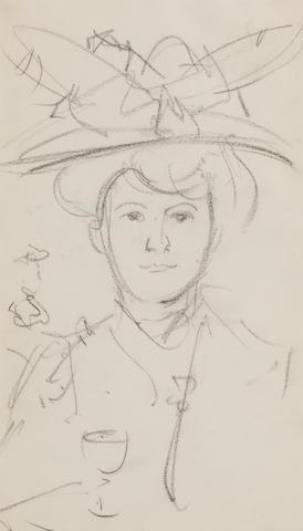 John Duncan Fergusson RBA (British, 1874-1961) Une Jeune Modiste, Paris 1908 20 x 12 cm. (8 x 4 3/4 in.)