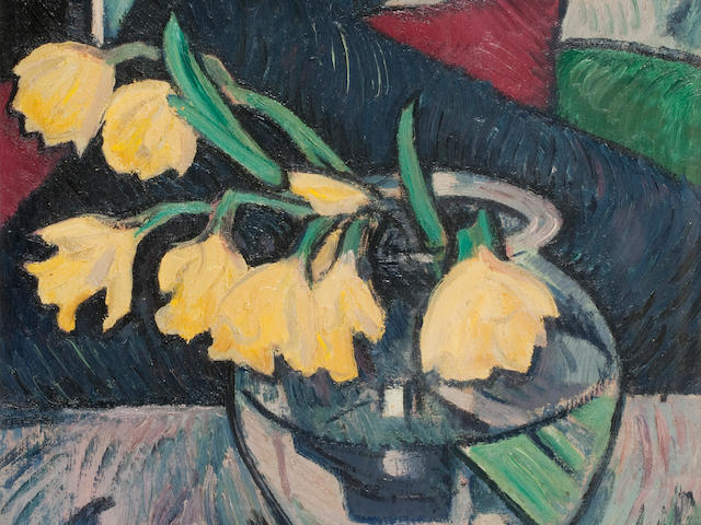 Samuel John Peploe RSA (British, 1871-1935) Daffodils in a Glass Bowl 45.5 x 40.5 cm. (17 15/16 x 15 15/16 in.)