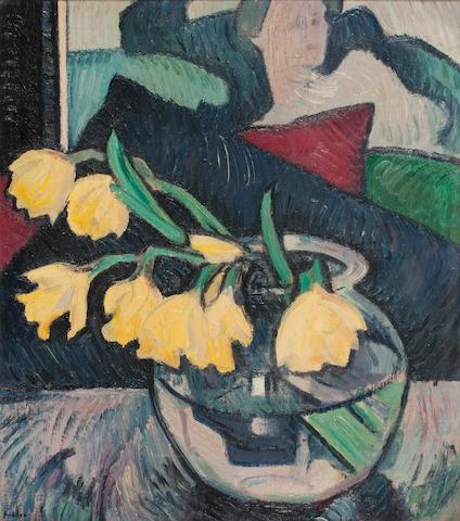 Samuel John Peploe RSA (British, 1871-1935) Daffodils in a Glass Bowl 45.5 x 40.5 cm. (17 15/16 x 15 15/16 in.)