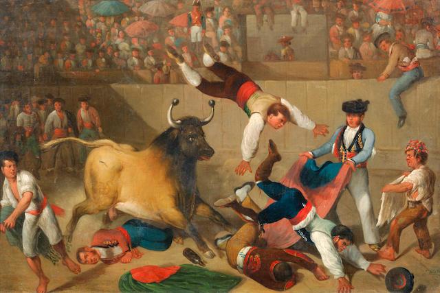 Jose Antonio de la Vega (active Spain 19th Century) A bull fight; and bull-baiting  (2)